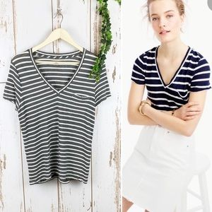 J. Crew Grey Linen Striped Favorite Tee EUC V-Neck